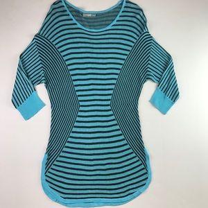 Dana Buchman Womens SweaterTop Hem Teal Stripe L